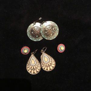 3 boho earrings